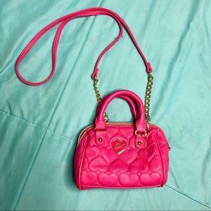 Betsey Johnson HOT pink heart mini purse!